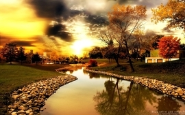 Sunset clouds landscapes nature trees autumn day rocks sunlight wallpaper