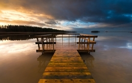Sunset clouds landscapes wood dock sweden lakes skyscapes wallpaper