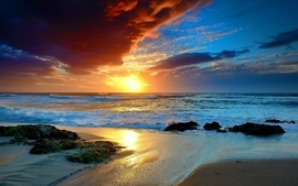 Sunset landscapes nature beach sea wallpaper