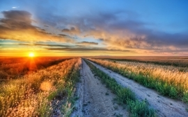 Sunset landscapes nature photography roads hdr photography wallpaper