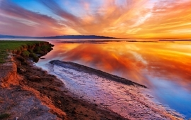 Sunset landscapes nature reflections 2 wallpaper
