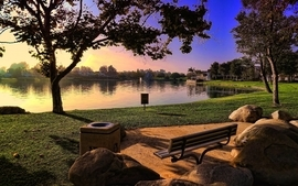 Sunset landscapes nature trees bench lakes hdr photography parks wallpaper