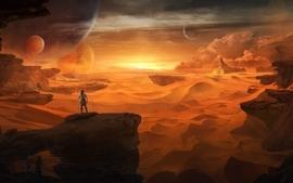 Sunset landscapes sand planets desert digital art artwork hero wallpaper