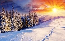 Sunset mountains clouds landscapes nature winter season snow wallpaper
