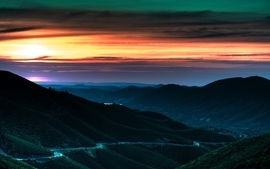 Sunset mountains landscapes california napa valley wallpaper