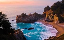 Sunset mountains landscapes coast beach trees seas wallpaper