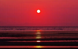 Sunset nature sun silhouette seascapes reflections wallpaper
