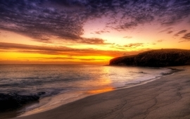 Sunset ocean landscapes nature coast beach wallpaper