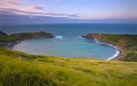 Sunset ocean landscapes nature coast sun seas land cove wallpaper