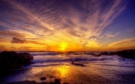 Sunset ocean landscapes nature sea wallpaper