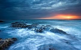 Sunset ocean waves fog sea wallpaper