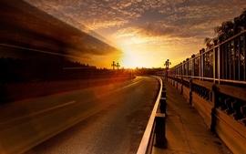Sunset sun cityscapes roads wallpaper