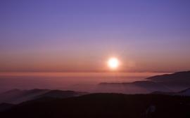 Sunset sun hills wallpaper