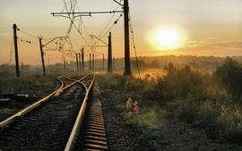 Sunset sunrise morning empty evening railway tracks wallpaper