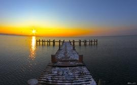 Sunset sunrise nature sun pier lakes sea wallpaper