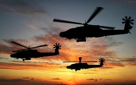 Sunsets apache helicopters vehicles skyscapes attack wallpaper