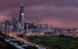 Sunsets cityscapes chicago storm buildings sears tower wallpaper