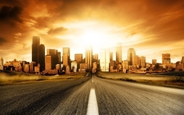 Sunsets cityscapes roads wallpaper