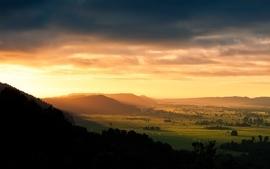 Sunsets landscapes nature forest fields hills wallpaper