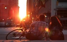 Sunsets love new york city couple romantic wallpaper