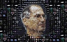 Technology icons steve jobs apples faces wallpaper
