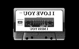 Text studio cassette typography tape grayscale i love you black wallpaper