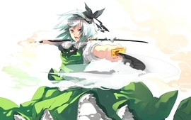 Touhou dress katana konpaku youmu anime girls wallpaper