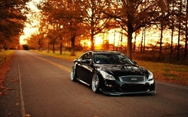 Trees autumn cars roads infiniti infiniti g37 g37 black cars wallpaper