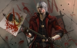 Video games blood devil may cry dante artwork white hair wallpaper