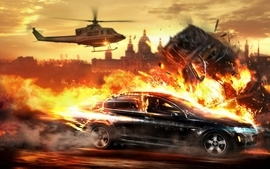 Video games cityscapes helicopters cars explosions fire police wallpaper