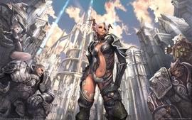 Video games horns fantasy art armor short hair tera elfs wallpaper
