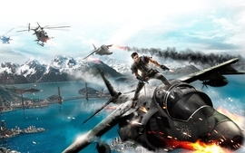 Video games mountains cityscapes helicopters bridges vehicles wallpaper