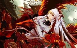 Video games touhou red flowers phoenix long hair gas masks wallpaper