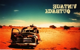 Vintage cars desert wallpaper
