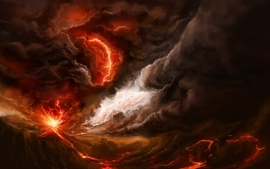 Volcanoes lava smoke digital art wallpaper