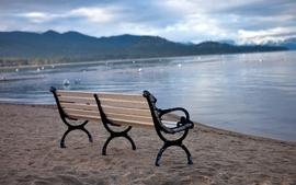 Water beach bench wallpaper