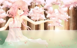 Water cherry blossoms trees dress long hair pink hair red eyes wallpaper