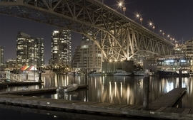 Water cityscapes city lights ships bridges buildings vehicles wallpaper