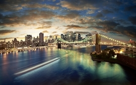 Water clouds cityscapes dawn brooklyn bridge new york city long wallpaper