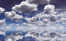 Water clouds mirrors skyscapes wallpaper
