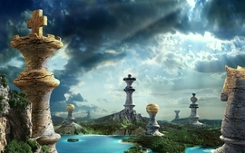 Water clouds nature castles knights chess queen siege pawns wallpaper