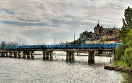 Water clouds trains bridges stockholm hdr photography slussen wallpaper