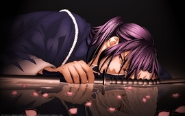 Water dark katana long hair weapons purple hair red eyes lying wallpaper