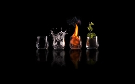 Water fire earth elements air black background wallpaper