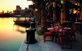 Water landscapes architecture dubai restaurant terrace jumeirah wallpaper