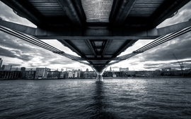 Water landscapes cityscapes bridges monochrome artwork wallpaper