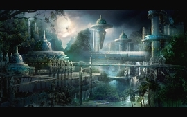Water landscapes cityscapes futuristic bridges buildings science wallpaper
