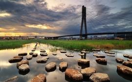Water landscapes cityscapes grass stones bridges wallpaper