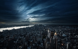 Water landscapes cityscapes night buildings new york city scenic wallpaper