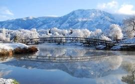 Water mountains landscapes nature winter snow trees bridges wallpaper